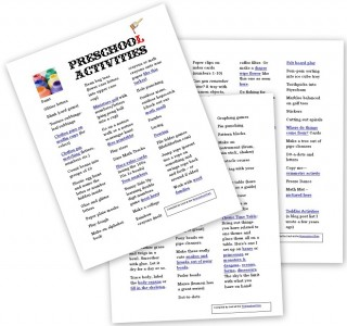 Preschool Activity List