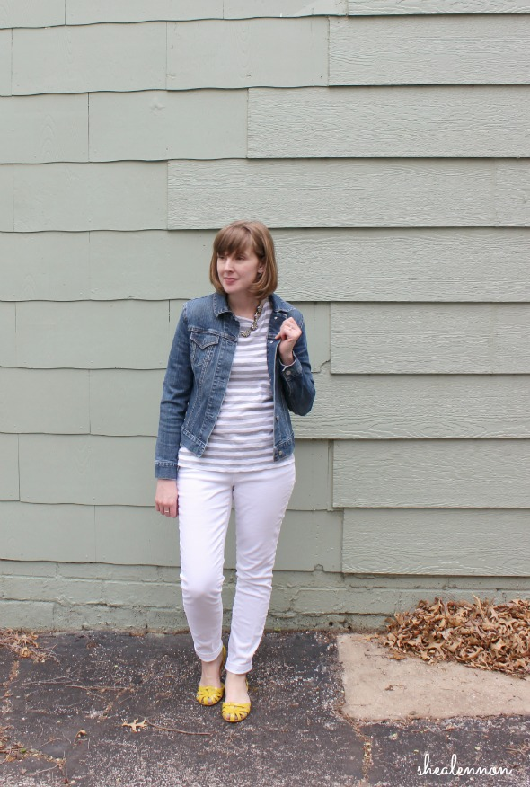 Spring Essentials with jean jacket, striped top and white jeans | www.shealennon.com