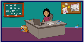 Animated picture of a teacher sitting at her desk with her computer in front of her and math problems on the chalk board