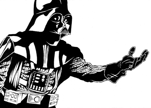 Cameron k lewis sketchblog star wars for Darth vader black and white