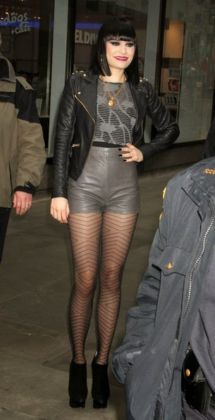 Jessie J Leather Shorts and Leather Jacket She's Rocking that Look