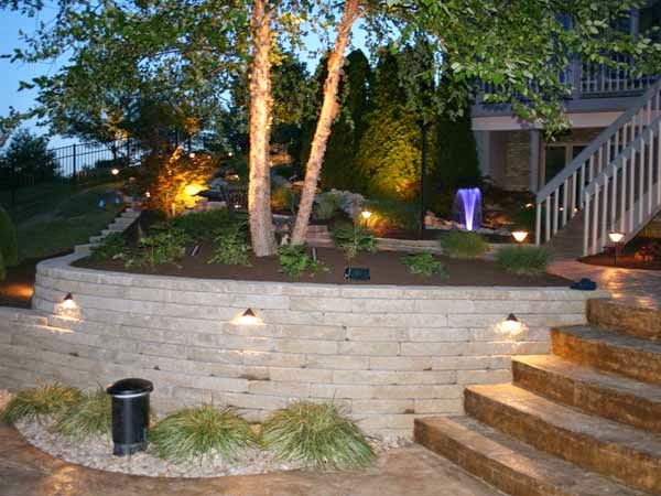 A Raised Patio Retaining Walls Or Stairway Areas Are Great Places To Add Lighting Right Into The Structures Which Keeps As More Of
