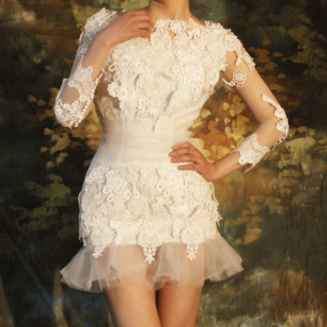 Elie Saab mini wedding dress with long sleeves 2013