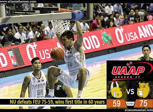 UAAP 77: NU defeats FEU 75-59, wins first title in 60 years