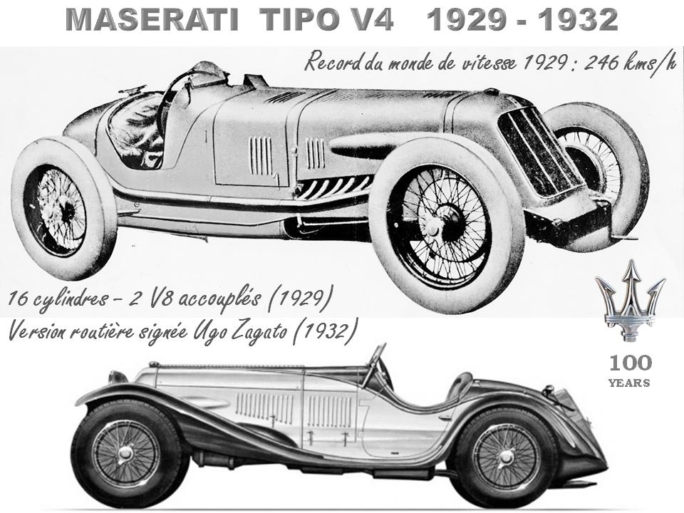 MASERATI 100 YEARS - AUTOWORLD BRUSSELS -  TIPO V4 (16 cylindres) - Record du monde de vitesse 1929 - 246 km/h  - Version routière signée Ugo Zagato en 1932 -  Bruxelles-Bruxellons