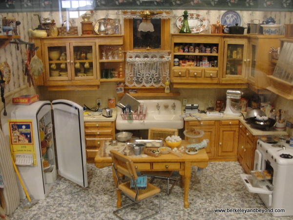 miniature kitchen at Chinese Historical Society of America museum in a Julia Morgan building in Chinatown San Francisco