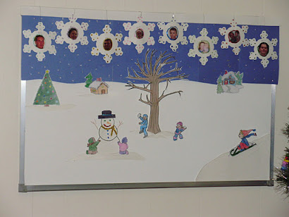 2011/ 2012 Winter Scene with handmade snowflake photo ornaments...