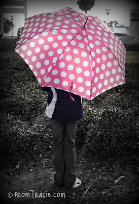 pink polka dot umbrella