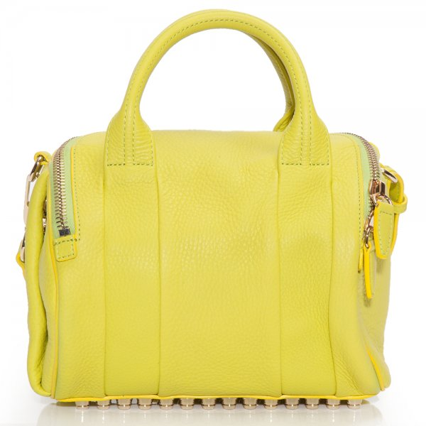 Alexander Wang, rockie, acid yellow, designer, designer bag, musthave, luxury, ss13, studded bag, duffle bag, studded duffle