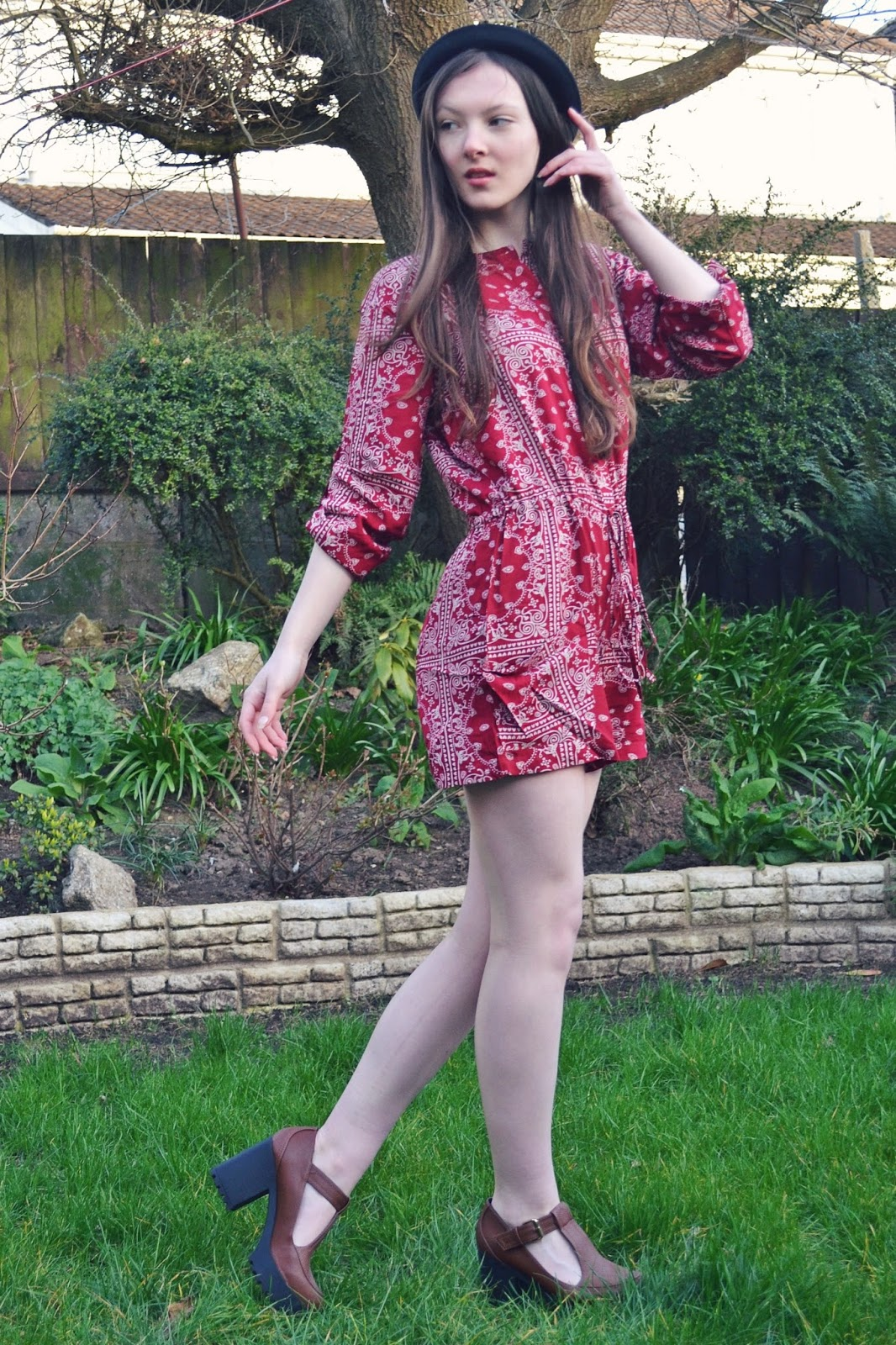 70s red boho playsuit