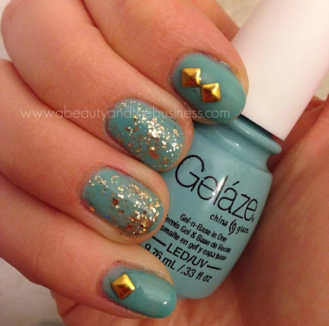 Gelaze For Audrey, twinsie Tuesday, twinsie Tuesday inspired by favorite movie, nail art, gel manicure, for audrey, tiffany blue gel manicure