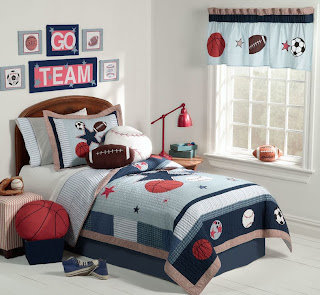 sports themed boy's bedroom