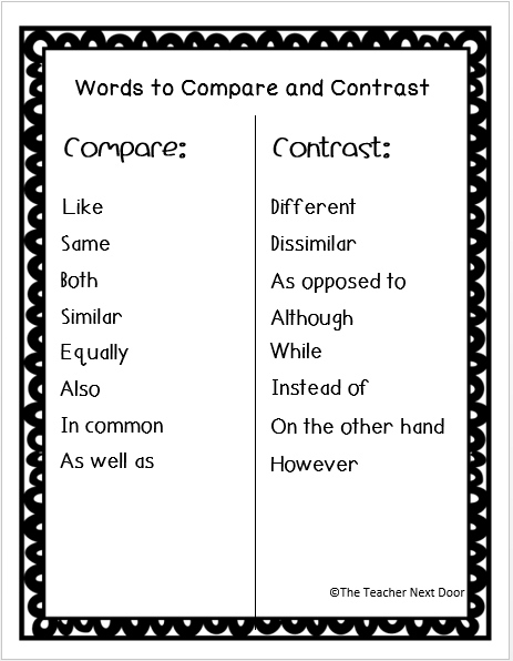 connecting words for compare and contrast essay