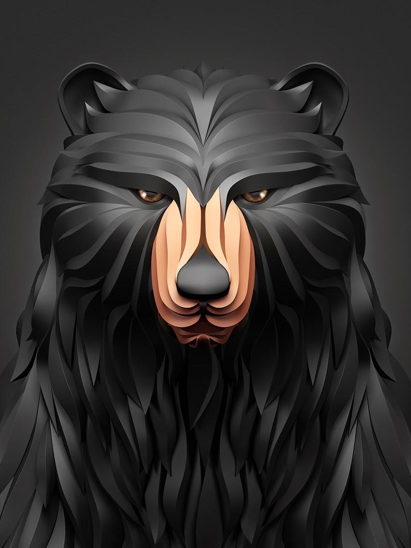 01-Bear-Maxim-Shkret-Digital-Origami-Animal-Art-www-designstack-co
