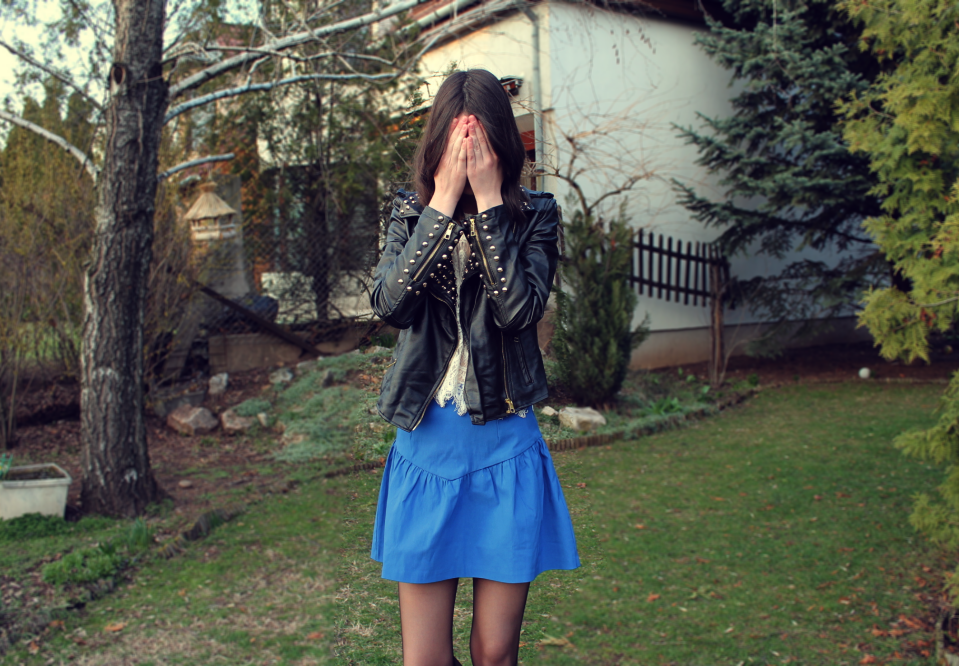 collect blue skirt wear style