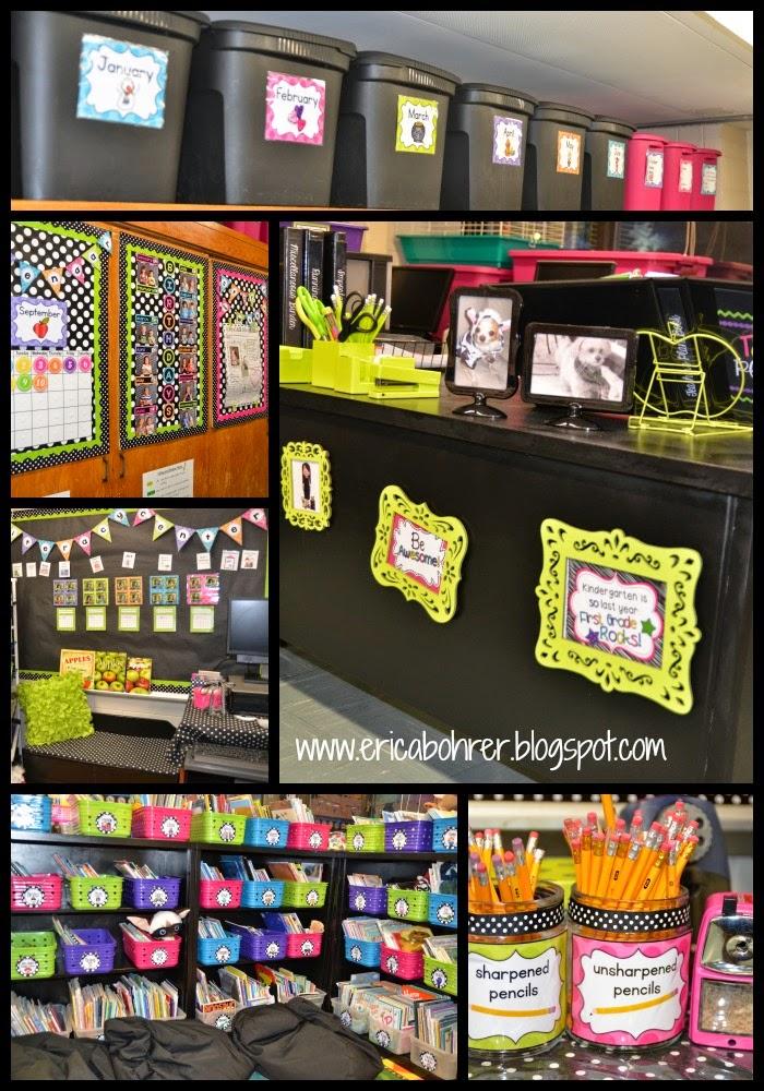 Classroom Decor S ~ Black white polka dot plus brights classroom reveal