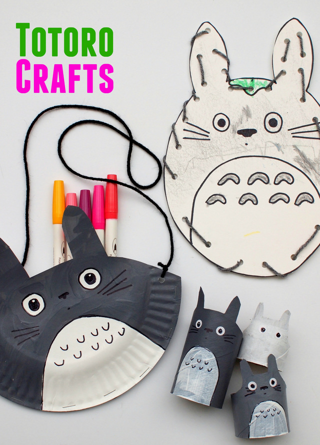 3 Easy Totoro Crafts to make with kids- paper plate purse, lacing card, and toilet paper roll Totoros