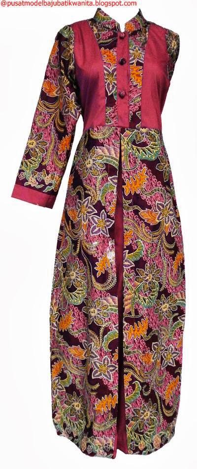 Model baju batik gamis terbaru gambar model baju batik Model baju gamis batik muslimah terbaru