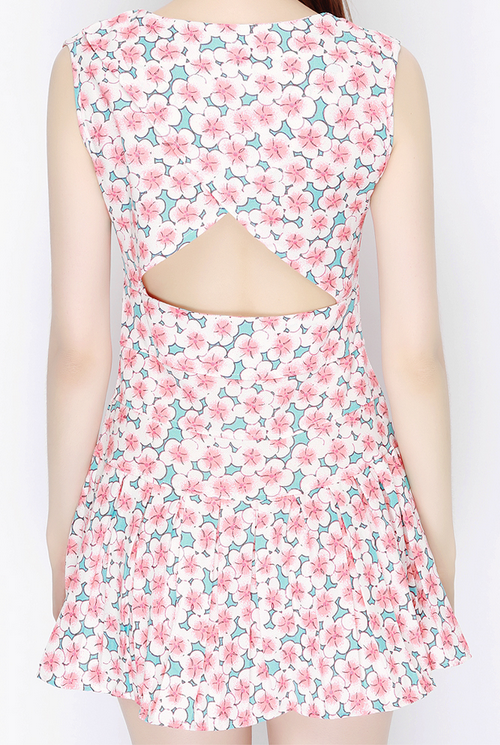 Bella Sakura Print Cut Out Back Dress