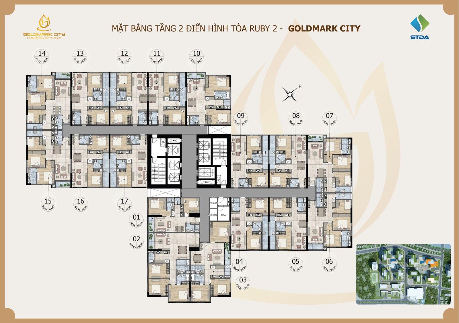 Mặt Bằng 3D Chung Cư Goldmark City Ruby 2
