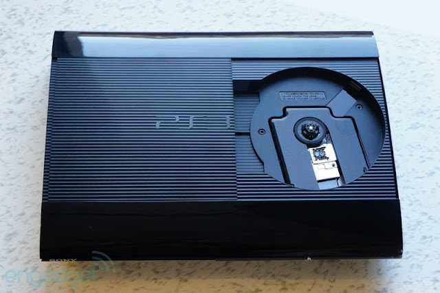 PS3 Super Slim with disc drive open