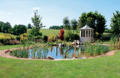 Backyard swimming pond and natural pool design ~ English garden