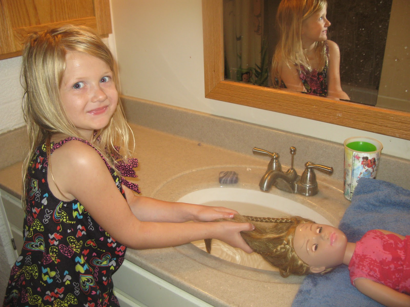 I Had Just Washed Her Hair In The Kitchen Sink, Laying Down On A Towel.  Then She Washed Her Doll Laurau0027s Hair The Same Way In The ...