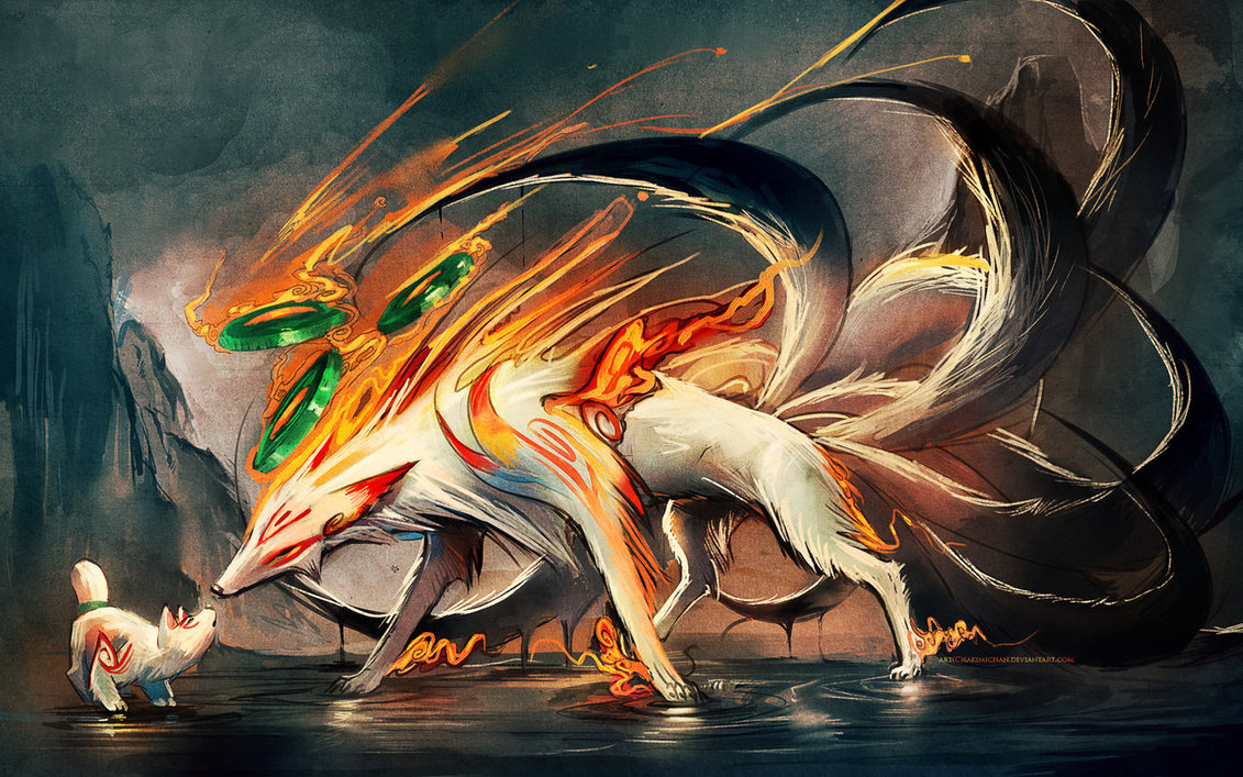 Animalizam u slikarstvu.. - Page 2 Nine_tailed_fox_and_pup_by_sakimichan-d4r47s5
