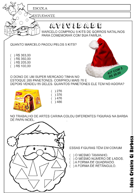 Atividade Educativa Problemas Natal para Ensino Fundamental