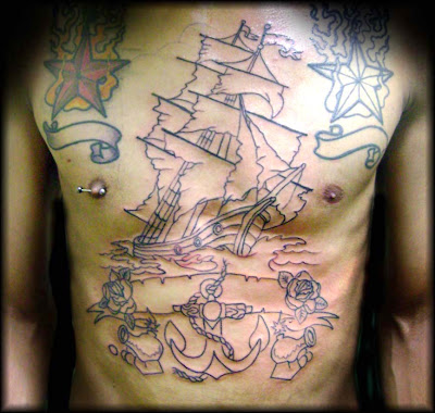 Chest Ship Tattoo - Tatuagem de Navio no Peito