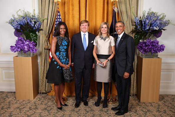 King Willem-Alexander and Queen Maxima met with Barack Obama and First Lady Michelle Obama