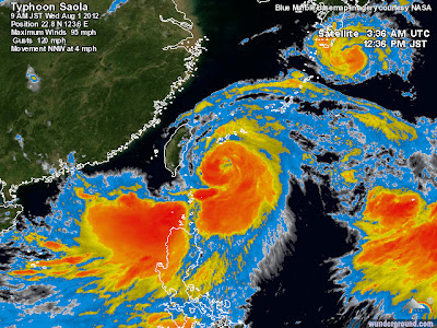 Typhoon Saola: Storm Centered Satellite Image for August 1, 2012