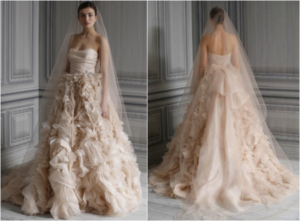 Monique Lhuillier ruffled wedding gown via www.lemagnifiqueblog.com