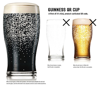 BBDO's Guinness 'QR cup' beer glass shows scannable QR code when filled with Guiness Black Stout beer.
