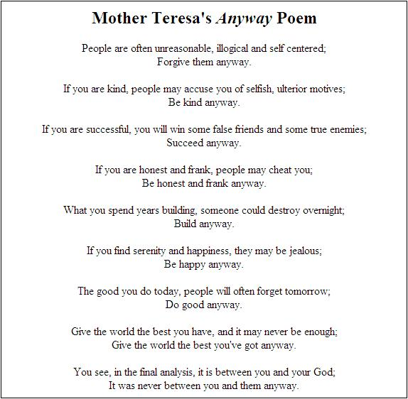 Bongodaily mother theresas anyway poem thecheapjerseys Gallery