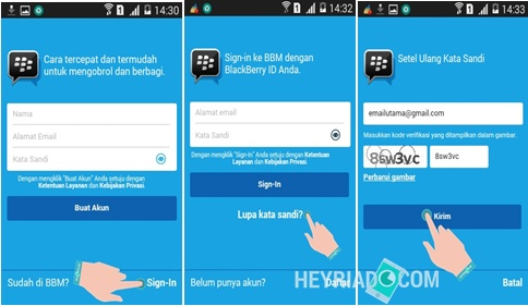 Lupa Kata Sandi BBM Android