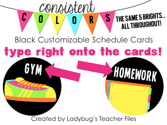 http://www.teacherspayteachers.com/Product/Black-Customizable-Schedule-Signs-Consistent-Colors-831478