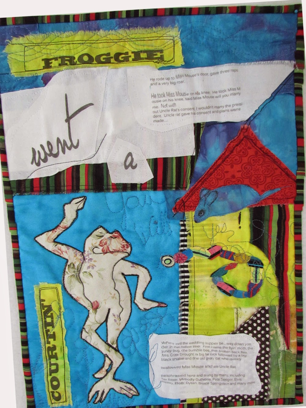 """Froggy Went A Courtin' "" an art quilt by Marty Mason"