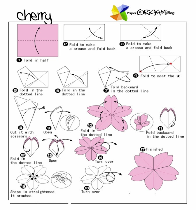 Flower origami cherry flower paper origami guide flower origami cherry flower mightylinksfo Image collections