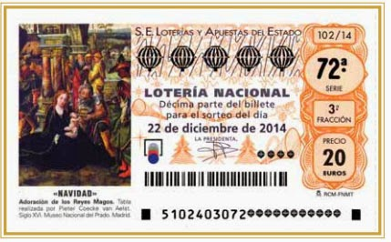 Detalle de los décimos del sorteo de lotería de navidad del 22 de diciembre de 2014