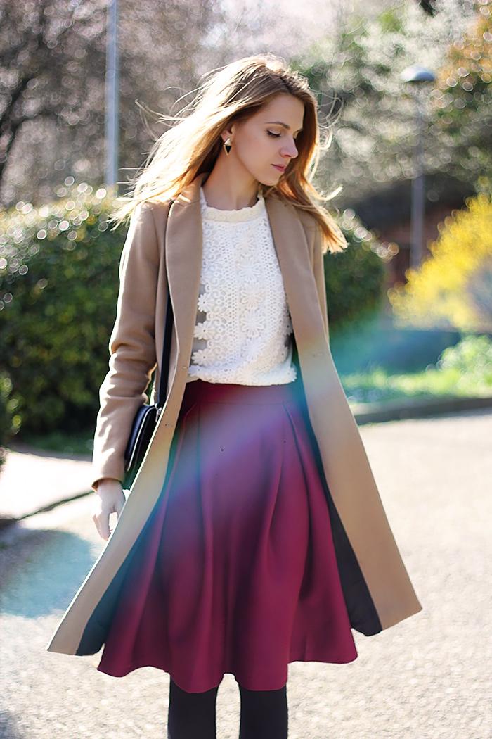 romantic white lace shirt, midi purple skirt, spring outfit, camel coat