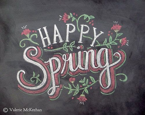 happy spring chalkboard art from Valerie McKeehan