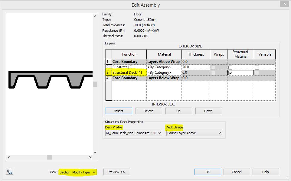 Revit recess structural floor decking function for Javascript floor function