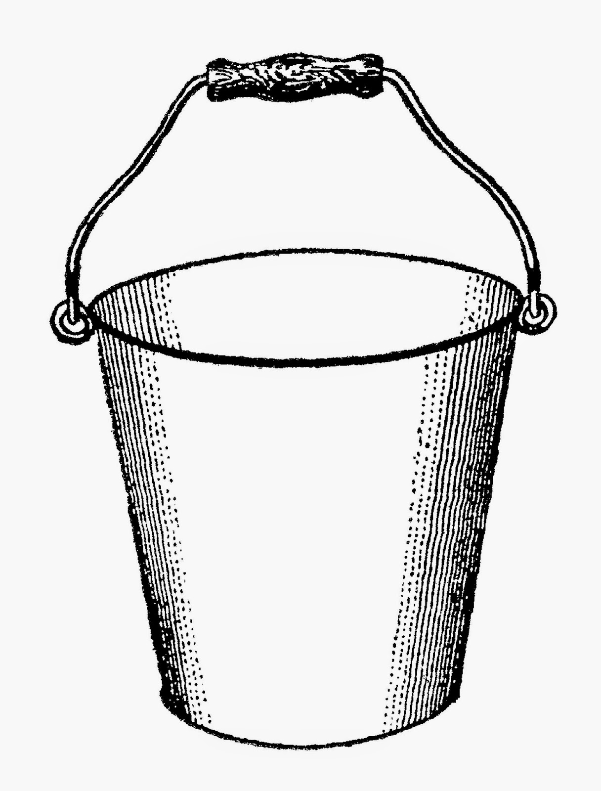 free printable digital transfer of gardening clip art water bucket