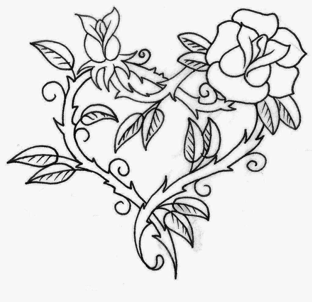 Roses heart made tattoo stencil