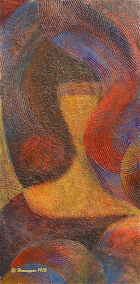 abstract painting acrylic on wood THE GIRL, Copyright Hemu Aggarwal, 1975