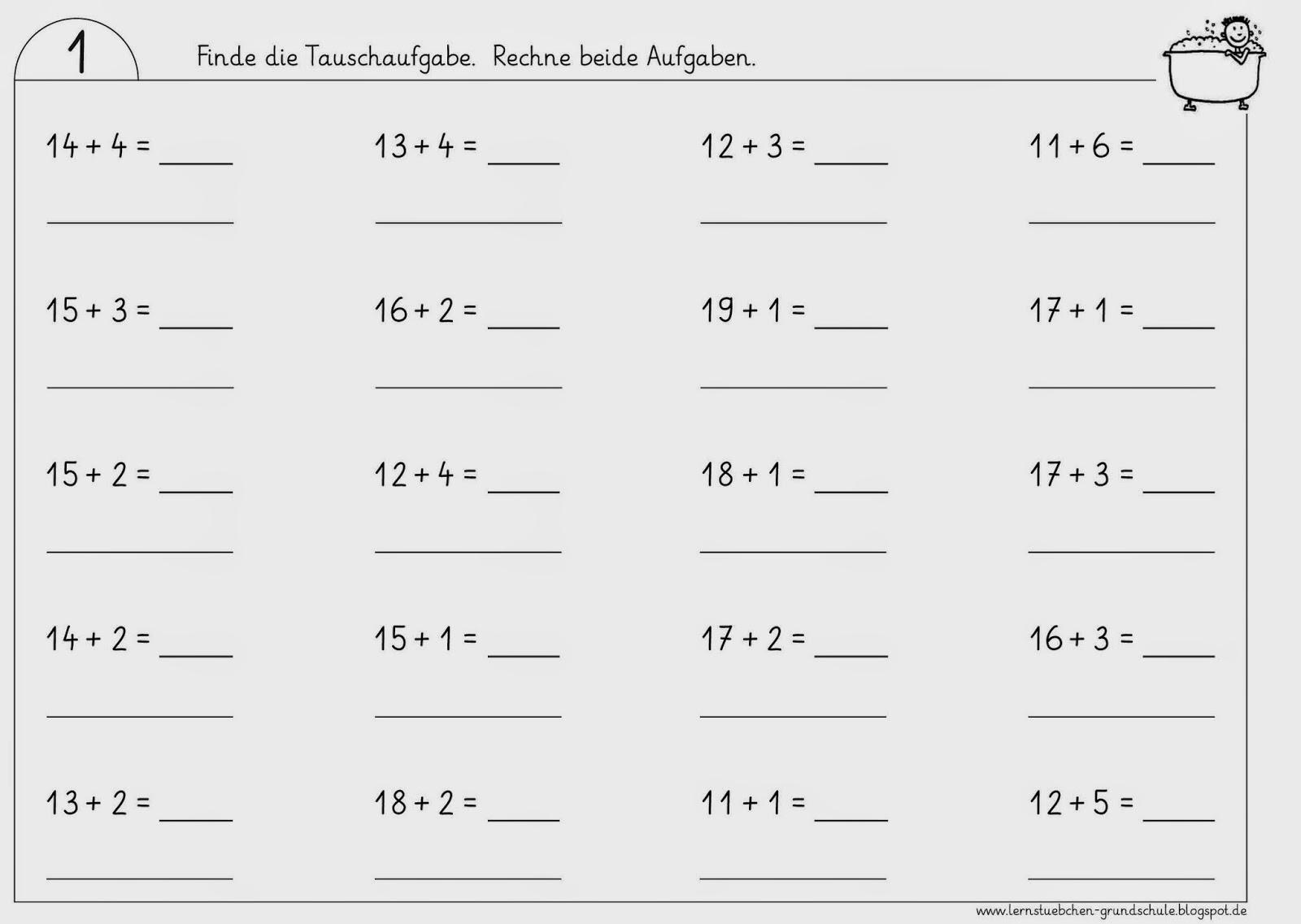Lernstübchen: Tauschaufgaben im 2. Zehner