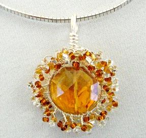 Wire wrapped sunburst pendant tutorials the beading gems journal they do well to add the sunburst quality to the topaz crystal and makes the pendant design pop mozeypictures Choice Image