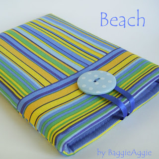 'Beach' Blue yellow green stripe handmade fabric ereader / tablet case sleeve cover for Kindle, Nexus 7, ipad Mini, Galaxy Tab, Kobo Touch, Blackberry Plabook.