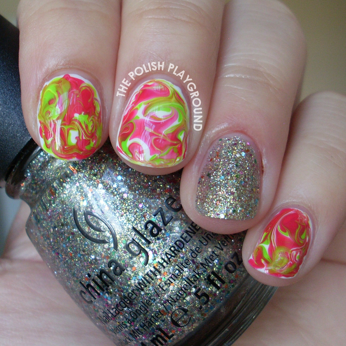 Bright Green and Red Dry Water Marble Nail Art
